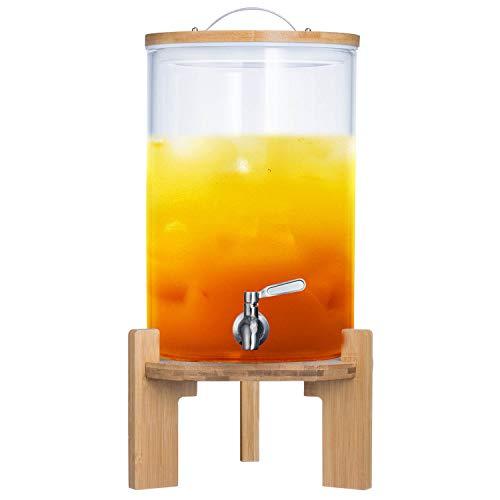 Getränkespender mit tropfsicheren Zapfhahn aus Edelstahl Wasserspender aus Glas mit Bambus Ständer und Deckel Limonadenspender aus hitzebeständigen Borasilikatglas (8 Liter)