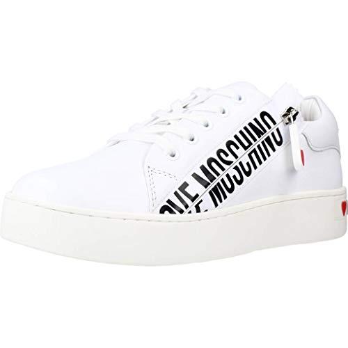Moschino Scarpe Donna Love Sneaker Fondo cassetta Pelle Bianco Con Zip DS21MO09 JA15093