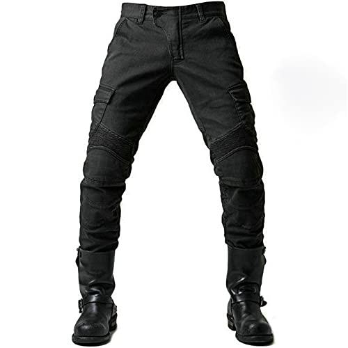Motorrad-Hose, Schutzhose, Herren Motorrad-Jeans aus atmungsaktivem, verschleißfestem Kevlar mit 2 Paar schützenden Hüft- und Kniepolstern, Jeans (schwarz, XL)