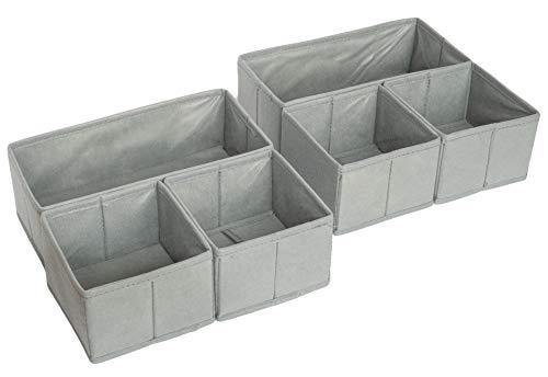 4er | 8er Aufbewahrungsbox Stoff Schubladen Ordnungssystem Kleiderschrank Organizer zum Aufbewahren von Unterwäsche, Socken, etc.| Faltbox | faltbare Stoffbox für Schubladen, Schrank in grau (6er Set)
