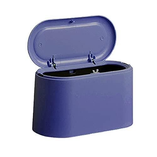Cubo Basura de Mesa con Tapa, 1.5L Papelera Sobremesa Escritorio Mini con Cubierta, Plastico Cubo Basura Pequeño, Bote de Basura Reciclaje Recycle Bin Trash Can Usado en Oficina Hogar Baño (Azul2)