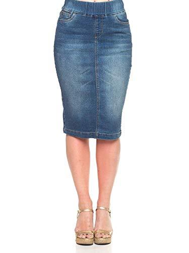 GoModest Women's Midi Casual Modest Knee Length Denim Jean Pencil Skirt (Vintage, Medium)