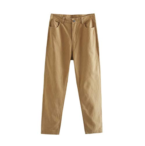 CML Frauen Gerade Hosen Hohe Taille Hosen Baumwolle Jogginghose Plus Size Kleidung (Color : Camel, Size : L)