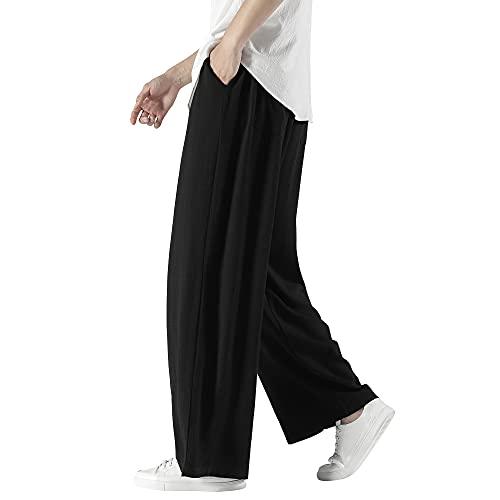 ワイドパンツ メンズ ズボン 夏用 涼しい ボトムス 無地 和式 袴パンツ ゆったり リネンパンツ 大きいサイズ アラジンパンツ おしゃれ ロングパンツ カジュアル 春 夏 秋 black XL
