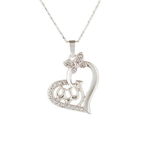 Timesuper Collar con colgante de Allah en forma de corazón y joyería musulmana para mujeres niñas, plata
