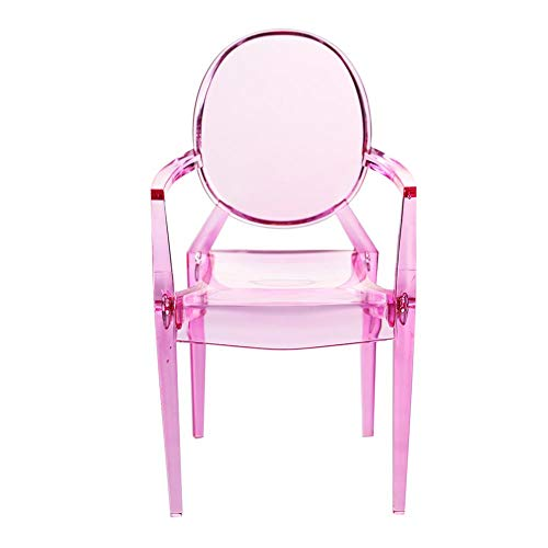 Poppenhuisstoel, 1/6 Miniatuur fauteuil Plastic stoel Model Poppenhuis Miniatuur Kunstnijverheid DIY-poppenhuisaccessoires(Karmijn)