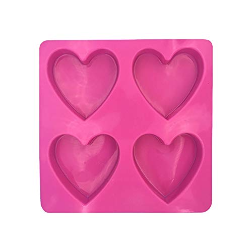 4-Hole Heart-Shaped Silicone Mold 2Pcs for Mother's Day Candy Cake Mold Baking,Cake Mould Personalised DIY Mothers Day Gifts(Red)
