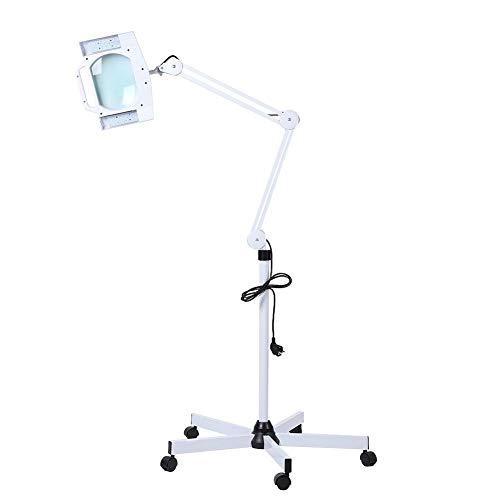 Lámpara con lupa de pie, 5 lupas LED, lámpara de belleza con soporte, trajes para salón de belleza, hospital y para el hogar