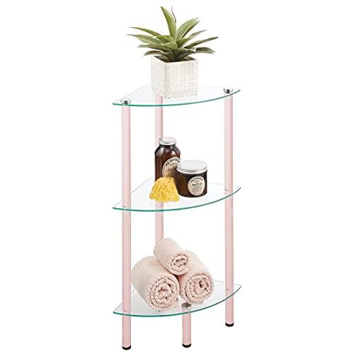 mDesign Moderna estantería de baño – Organizador de baño de Cristal con Tres baldas – Elegante Estante esquinero para baño, despacho o salón – Transparente y Rosa