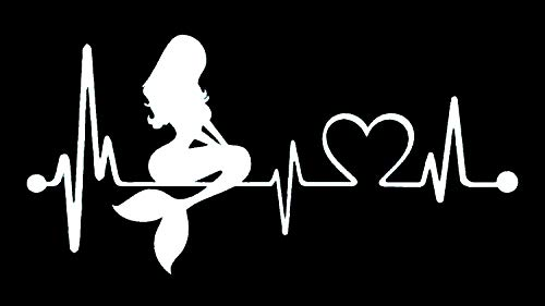 Bluegrass Decals Mermaid Heartbeat Lifeline Monitor Decal Sticker (White, 7')