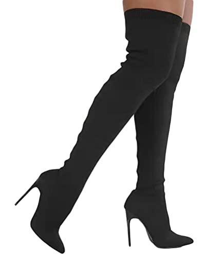 Minetom Damen Hohe Stiefel Strick Herbst Winter Schuhe Langschaft Overknee Stiefel Stiletto High Heels Lang Boots A Schwarz 36 EU