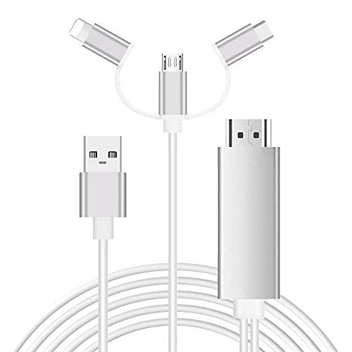 Zhongkaifa Cavo da Smartphone a HDMI, 3 in 1 USB Tipo C da Flash a HDMI HDTV Adattatore Cavo 1080p Adattatore AV Digitale Cavo Specchio