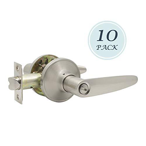 Palanca de privacidad para puerta de dormitorio o baño con acabado de níquel satinado, reversible, para lado derecho o izquierdo