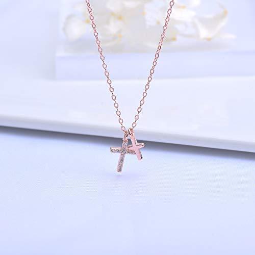 NHGF Collar de plata de ley S925, collar con colgante de cruz de moda para mujer, el mejor regalo (collar de cruz de oro rosa)