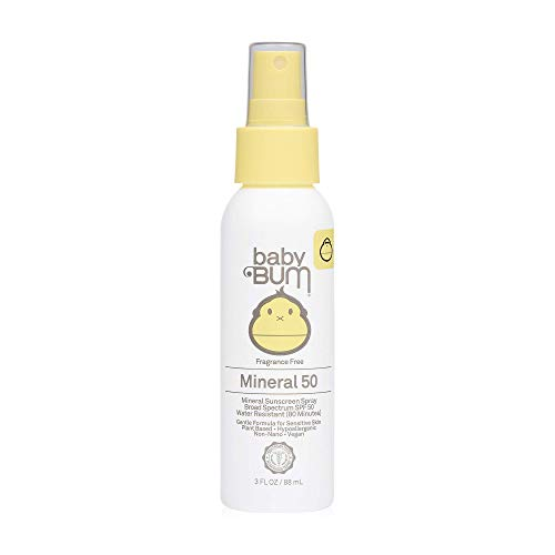 Sun Bum Baby Bum SPF 50 Sunscreen Spray | Mineral UVA/UVB Face and Body Protection for Sensitive Skin | Fragrance Free | Travel Size | 3 FL OZ