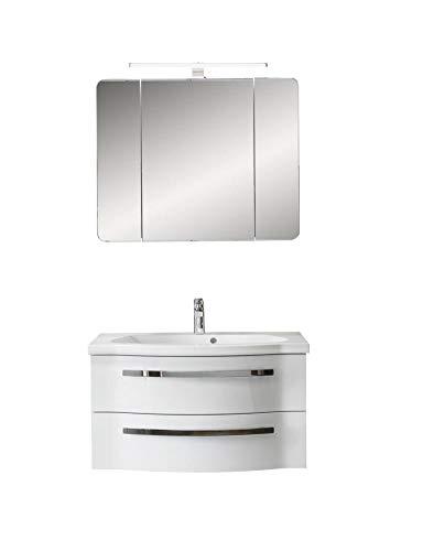 PELIPAL FOKUS 4005 Bad Möbel Set (3 teilig) / polarweiß Hochglanz, Spiegelschrank, Mineralmarmor-Waschtisch, Unterschrank, LED Beleuchtung