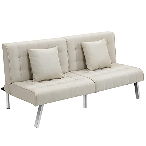 HOMCOM 2-Seater Convertible Sofa Bed with 7 Adjustable Angled Backrest Levels, 2 Pillows, and 5 Steel Legs, Cream White