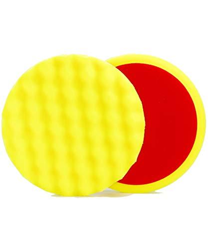 ALCLEAR 5616030M Schleifpad, Auto Polierschwämme, medium gewaffelt, Durchmesser: 160x30 mm, gelb,2er Set, Polierpad polieren Pad Schwamm Polierschaum f. Poliermaschine