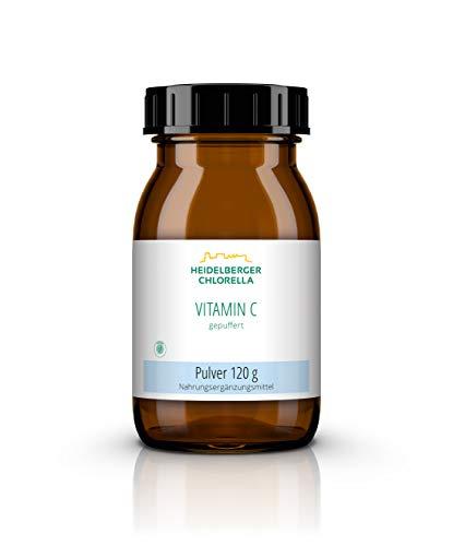 Heidelberger Chlorella – Vitamin C Gepuffert Pulver, 100 % gepuffertes Vitamin C-Pulver als Calciumascorbat, vegan, gut verträglich, hergestellt in Deutschland, 120 g