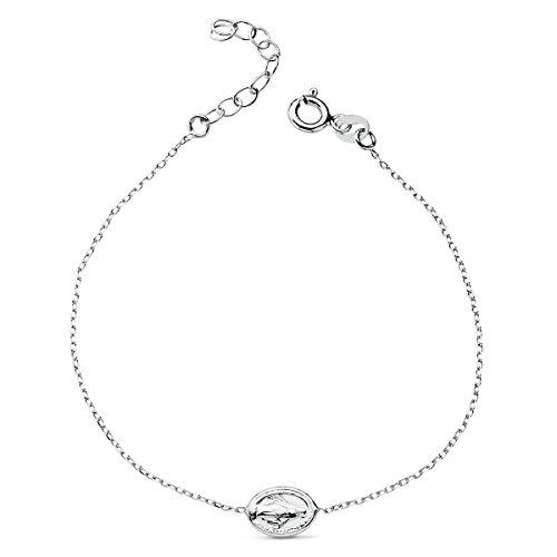 Iyé Biyé Jewels Pulsera niña Mujer Plata de Ley 925 Virgen Milagrosa 16 + 4 cm Ajustable Cadena Forzada