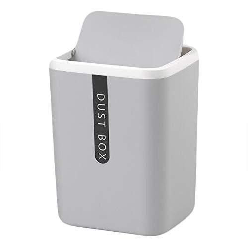 Hava Kolari Cubo de basura en miniatura para almacenamiento de mesa, oficina y cocina, color gris