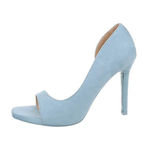 Ital-Design Damenschuhe Pumps High Heel Pumps Synthetik Hellblau Gr. 40