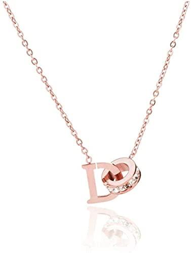 NC198 Collar Titanio Acero Clip D Collar de Diamantes Mujer Oro Rosa Anillo Doble Letra D Cadena de clavícula