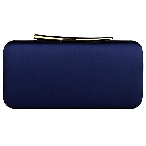 Pochette da donna alla moda, in vernice metallica, per matrimoni, balli e serate, Blu (Blue), Taglia unica