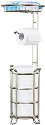 FHK Soporte de papel higiénico de pie con estante para almacenamiento de baño, capacidad para reservar 60 x 16 cm (color: níquel pulido)