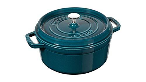 Staub 1102285 Casserole Dish Round with Lid 22 cm 2.6 L with Matt Black Enamel Inside the Pot, La Mer, 22 cm