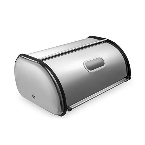 Deppon Bread Box for Kitchen Counter, Matte Stainless Steel Bread Storage Bin Container with Roll up Lid, Fingerprint Proof, Large Capacity Holds More Than 2 Loaves, 17.5 x 11 x 7.5 Inches