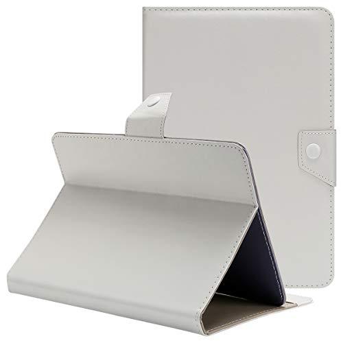 Tablet Hülle 10 Zoll Universal Qimaoo Ultra Dünn und Leightweight Flip Hülle für Tablet 10.1 Zoll Tablet Hüllen mit Standfunktion Slim Leder Hülle Weiß