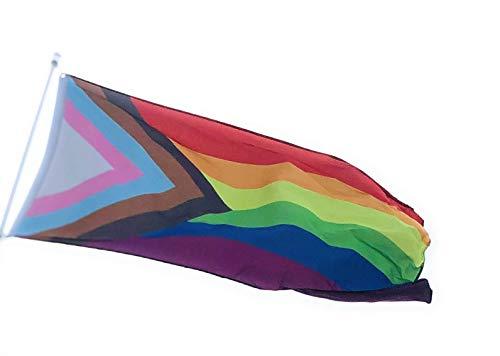 """Inkl. """"Progress"""" Pride Flagge, 90 x 150 cm, für Innen- und Außenbereich, BLM Trans Inclusive Pride"""