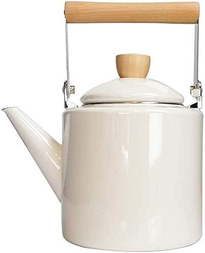Bouilloire induction Théière blanche Enamel EnaMel Enquêche Cuisinière Siffloir à induction Théière à usage naturel WHLONG