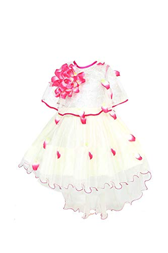 YAYAVAR Girl's Knee Length Fit & Flare Frock Dress (YVR0006B_Off White, Lime & Red_2-3 Years)
