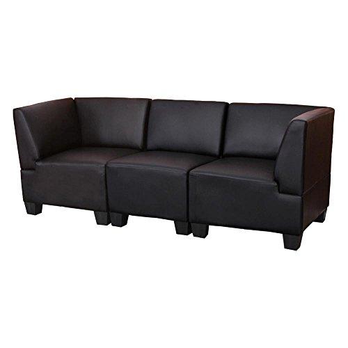 Mendler Sistema modulare Lione N71 salotto ecopelle divano 3 posti alto nero