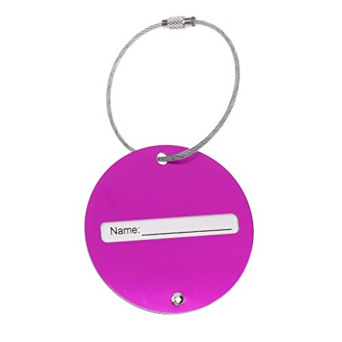 #N/A 7 Colors Suitcase Tags Plane Pattern Travel Luggage Handbag Tags Badge Name Tag Address - Purple, 6cm