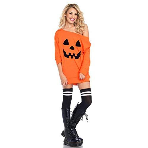 BaZhaHei-Halloween, Vestido de Disfraces de Calabaza de Hombro frío de Mujer Vestido de Disfraces de Halloween Camisetas de Mujer Vestido de Manga Larga sin Tirantes de Halloween para Mujer