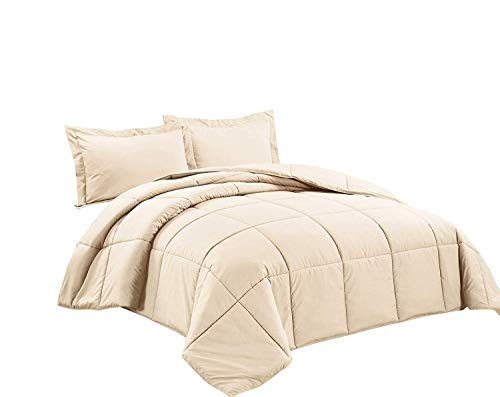 Chezmoi Collection 3-Piece Down Alternative Comforter Set (Oversized Queen, Cream)