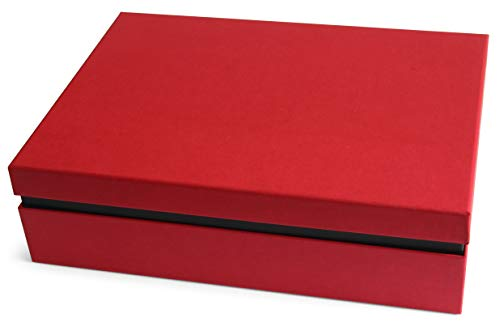 Ritter Design | Premium Aufbewahrungsbox/Geschenkbox/Dokumentenbox mit Deckel | kaschiert durch Bezugsstoff | passend für DIN A4 | gefertigt in Deutscher Manufakturarbeit | rot/schwarz