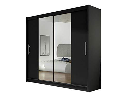 Kleiderschrank London II mit Spiegel, Schiebetürenschrank, Schwebetürenschrank, Modernes Schlafzimmerschrank 180x215x58cm, Garderobe, Schlafzimmer (Schwarz)