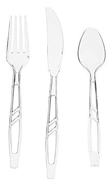 Oaklyn  300 Count  Heavy Duty Clear Plastic Cutlery Set - 100 Forks 100 Spoons 100 Knives - Bulk Disposable or Reusable Heavyweight Fancy Utensils