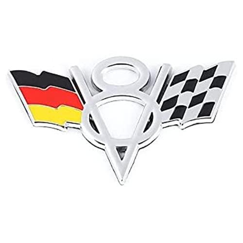 Emblema, V8 EEUU Reino Unido Francia Alemania Italia Decoración De Automóviles Emblema Insignia Compatible con BMW Audi Ford Focus Honda Toyota Suzuki Skoda Kia Lexus Volvo Autologo-Etiqueta,Rojo