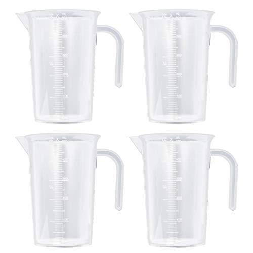 NUOBESTY 4Pcs Tasses à Mesurer en Plastique avec Échelle Tasses Graduées Claires avec Poignée Et Bec 500 ML