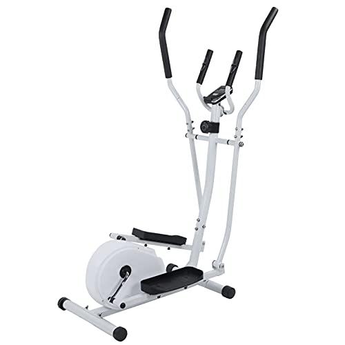 Dioche Bicicleta elíptica para el hogar con asas de frecuencia de pulso y monitor digital LCD, sistema de frenado magnético, bicicleta elíptica, capacidad de peso: 265 kg, color blanco