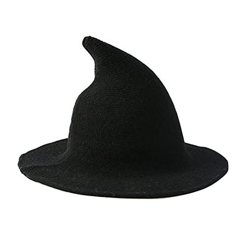 Sombrero de bruja para mujer con punta plegable, sombrero de bruja de Halloween, accesorio de disfraz de disfraces (negro)