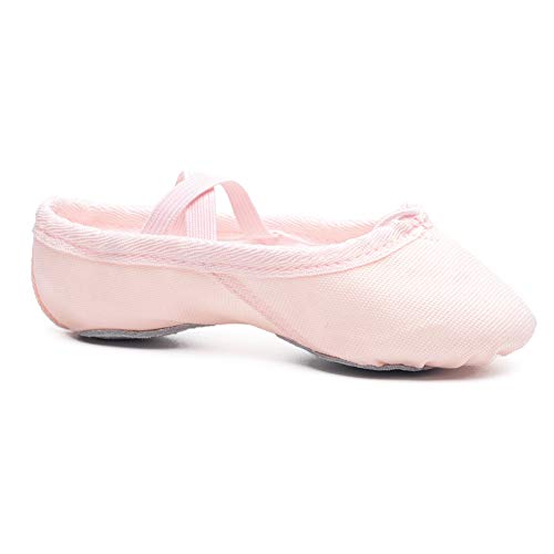 Ambershine Full Sole Ballet Shoes for Girls/Toddlers/Kids,Canvas Ballet Shoes/Satin Ballet Slippers with Ribbon/Better Fit Dance Shoes