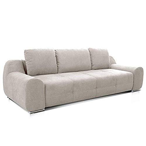 Cavadore Big Sofa Benderes / Großes Sofa mit Steppung und Ziernaht / Inkl. 3 Kissen / Chromfüße / 266 x 70 x 102 (BxHxT) / Grau/Weiß