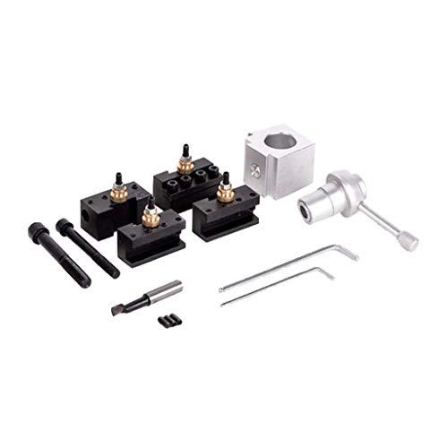Tubayia Mini Drehmaschine Schnellwechsel Werkzeughalter Kit Schnellwechsel Stahlhalter für Drehbank