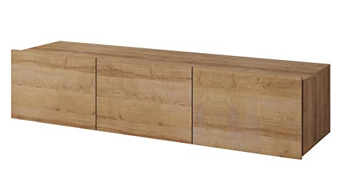 DOMTECH Wohnwand, TV Board hängend, 150 cm Goldene Eiche Lowboard Hängeschrank, Gaming Tisch, Hängeboard Hochglanz Wandschrank hängender Schrank Modernes Wohnzimmer